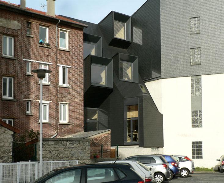 Façade arrière de la Maison L. - Architecte : Hervé Gaillaguet