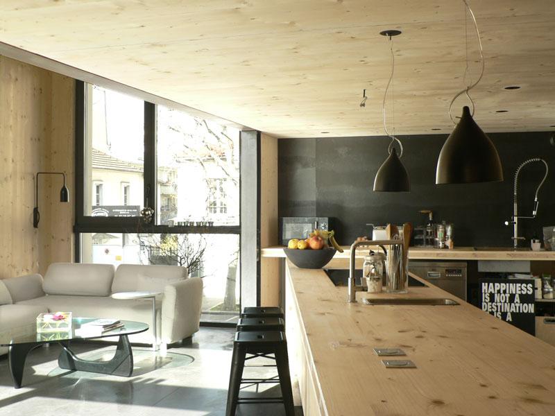 Pièce à vivre et cuisine de la Maison L. à La Garenne Colombes - Architecte : Hervé Gaillaguet