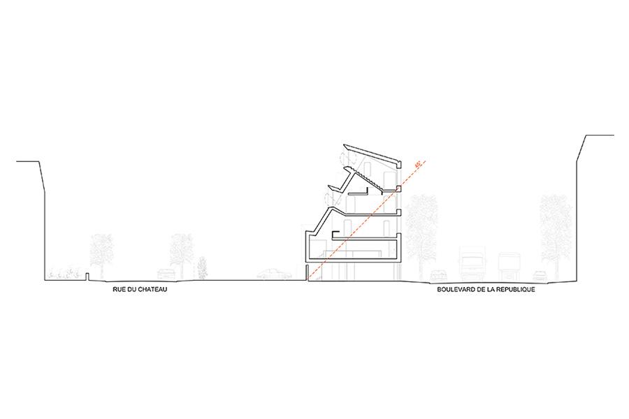Plan de coupe de la Maison L. à La Garenne Colombes - Architecte : Hervé Gaillaguet