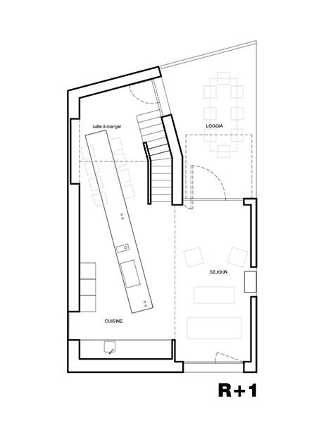 Plan de la Maison L. - R+1 - Architecte : Hervé Gaillaguet
