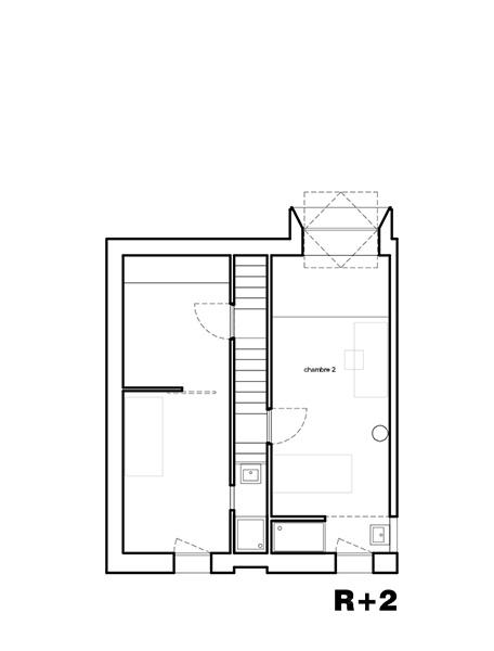 Plan de la Maison L. - R+2 - Architecte : Hervé Gaillaguet